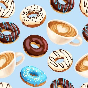 Modello vettoriale senza soluzione di continuità con tazze da caffè e ciambelle glassate multicolori