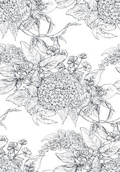 Reticolo senza giunte con composizioni di fiori disegnati a mano, rami di alberi in fiore. bellissimo sfondo floreale abbozzato in bianco e nero senza fine.