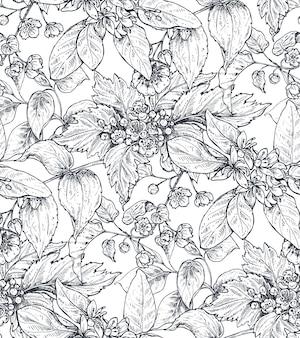 Reticolo senza giunte con composizioni di fiori disegnati a mano che sbocciano rami di alberi