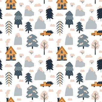 Reticolo senza giunte con case accoglienti montagne abeti rossi arbusti auto vacanze di natale