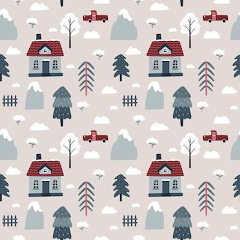 Modello vettoriale senza soluzione di continuità con case accoglienti montagne abeti rossi arbusti automobili natale