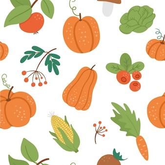 Reticolo senza giunte con simpatici ortaggi autunnali, frutta e bacche. sfondo con zucche