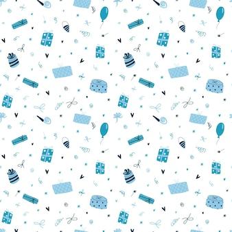 Modello vettoriale senza soluzione di continuità con simpatiche scatole regalo blu divertenti in stile piatto cartone animato carta da parati colorata