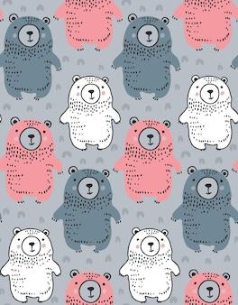 Modello vettoriale senza soluzione di continuità con simpatici orsi disegnati a mano sfondo infinito