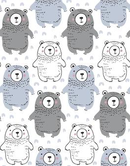 Reticolo senza giunte con simpatici orsi disegnati a mano