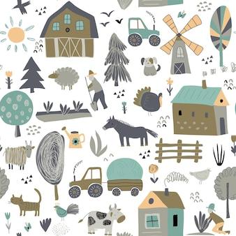 Reticolo senza giunte con simpatici animali da fattoria disegnati a mano alberi case trattore mulino