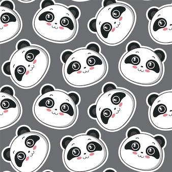 Modello vettoriale senza soluzione di continuità con simpatici panda volti backgrond infinito per il design tessile del tessuto del bambino