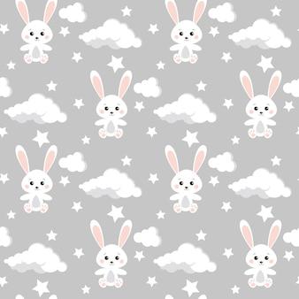 Reticolo senza giunte con simpatici conigli, nuvole, stelle su sfondo di colore grigio neutro.
