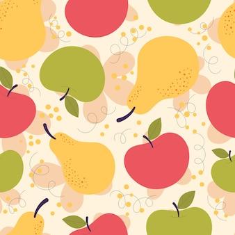 Reticolo senza giunte con pere rosse e gialle carine. raccolto autunnale, vegetariano, vitamine, frutta, succhi di frutta. illustrazione piatta disegnata a mano