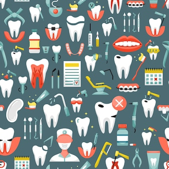 Reticolo senza giunte con le icone di odontoiatria. sfondo dentale
