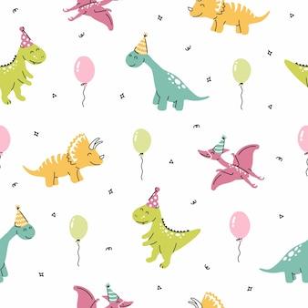 Modello vettoriale senza soluzione di continuità con la festa di compleanno dei dinosauri dinosauri con palloncini su sfondo bianco