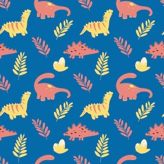 Reticolo senza giunte con dinosauri e foglie in stile infantile piatto cartone animato