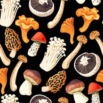 Reticolo senza giunte con funghi crudi commestibili su sfondo nero
