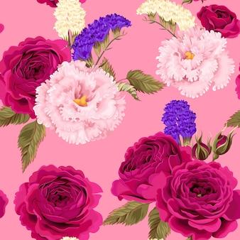 Reticolo senza giunte con eustoma, rose e fiori secchi su sfondo rosa