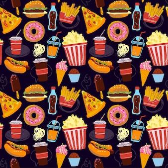 Modello vettoriale senza soluzione di continuità con l'illustrazione di fast food in stile disegnato a mano