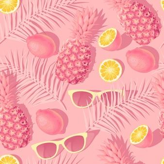 Reticolo senza giunte con fiori e frutti tropicali su sfondo rosa
