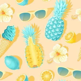 Reticolo senza giunte con fiori e frutti tropicali su sfondo giallo