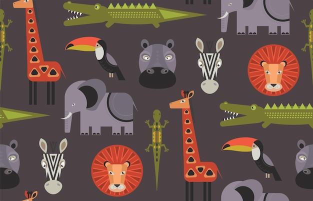 Modello vettoriale senza soluzione di continuità con animali africani geometrici dei cartoni animati sfondo infinito colorato