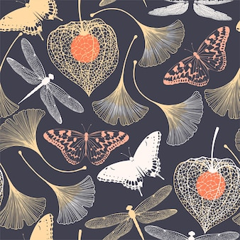 Reticolo senza giunte con ginkgo biloba e farfalle silhouette