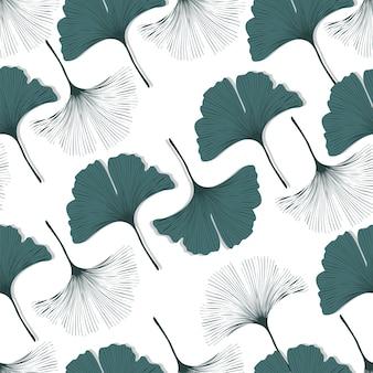 Vector seamless pattern con ginkgo biloba foglie.