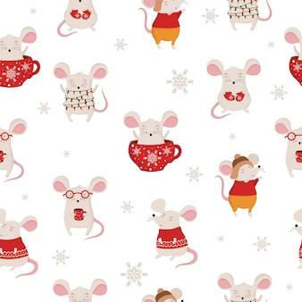 Reticolo senza giunte con disegno a mano simpatici topi invernali in abiti accoglienti