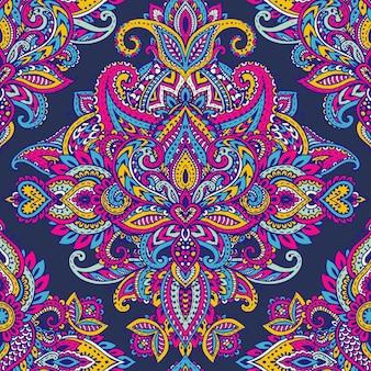 Reticolo senza giunte con elementi floreali mehndi hennè disegnati a mano. bellissimo sfondo colorato infinito in stile indiano orientale in colori vivaci