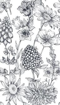 Reticolo senza giunte con erbe e fiori disegnati a mano su sfondo bianco