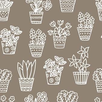 Modello vettoriale senza soluzione di continuità con piante e fiori da interno disegnati a mano, contorno bianco su sfondo beige, per il design di imballaggi, copertine, design di cartoline, stampa tessile