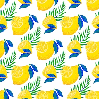 Reticolo senza giunte con limoni e foglie disegnati a mano