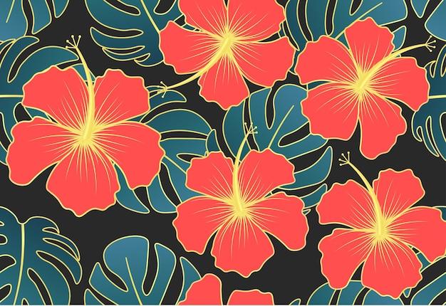 Reticolo senza giunte con ornamento tropicale disegnato a mano di foglie e fiori