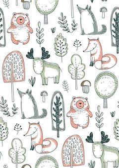 Reticolo senza giunte con disegnati a mano animali selvatici della foresta alberi fiori funghi