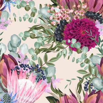Modello vettoriale senza soluzione di continuità con fiori e foglie di protea dettagliati su sfondo bianco