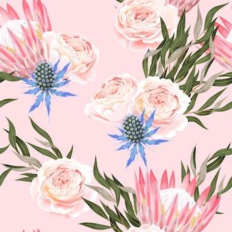 Reticolo senza giunte con alta protea dettagliata su sfondo rosa