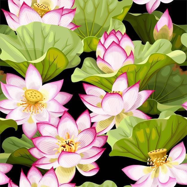 Modello vettoriale senza soluzione di continuità con fiori e foglie di loto