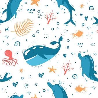 Modello vettoriale senza soluzione di continuità con oggetti marini set di mare delfini balena polpo e corallo