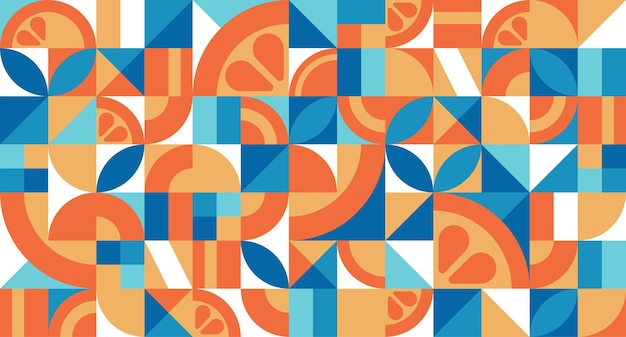 Modello vettoriale senza soluzione di continuità con l'arancione in stile bauhaus trama geometrica astratta con semplici forme ripetute carta da parati retrò mosaico sfondo minimalista colorato Vettore Premium