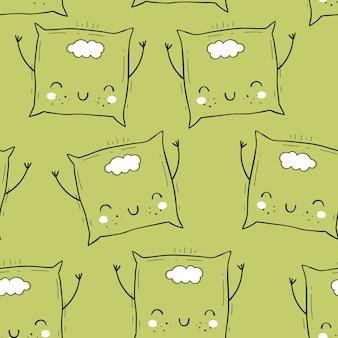 Vector seamless con cuscino. motivi scandinavi. stampa del bambino cartone animato