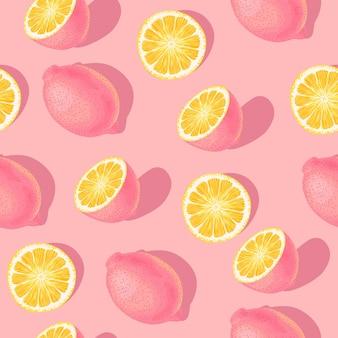 Modello vettoriale senza soluzione di continuità con fette di limone rosa e intero su sfondo rosa