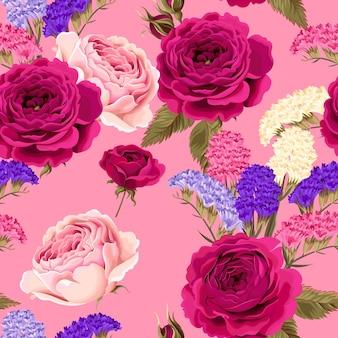 Reticolo senza giunte con rose e fiori secchi su sfondo rosa