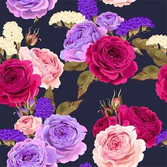 Reticolo senza giunte con rose e fiori secchi
