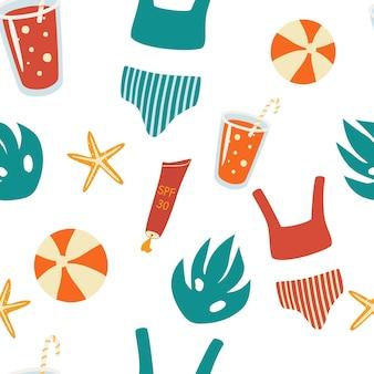 Reticolo senza giunte con elementi estivi. elementi vettoriali da spiaggia: costume da bagno, cocktail con cannuccia, palla, crema solare, stelle marine. stile piatto