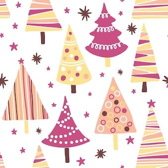 Reticolo senza giunte con alberi di natale testurizzati. tessuto festivo moderno e originale, carta da regalo, design per pareti.