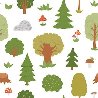 Reticolo senza giunte con alberi, piante, arbusti, cespugli, funghi. fondo ripetuto della foresta autunnale piatta. simpatica carta digitale con piante del bosco