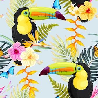 Reticolo senza giunte con fiori tropicali e tucano