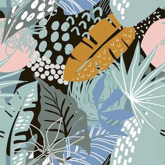 Reticolo senza giunte con piante tropicali e texture astratte disegnate a mano