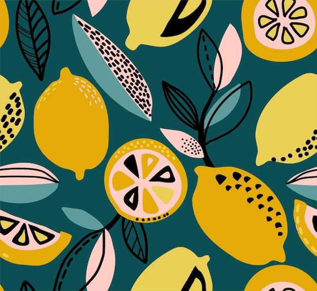 Modello vettoriale senza soluzione di continuità con rami di limoni gialli trame astratte sfondo ripetuto di frutta