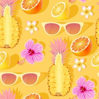 Reticolo senza giunte di vettore con fiori e frutti tropicali su sfondo giallo