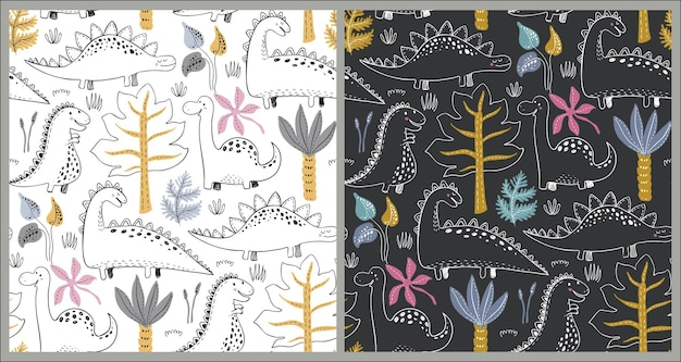 Modelli vettoriali senza cuciture con dinosauri disegnati a mano e foglie e fiori tropicali