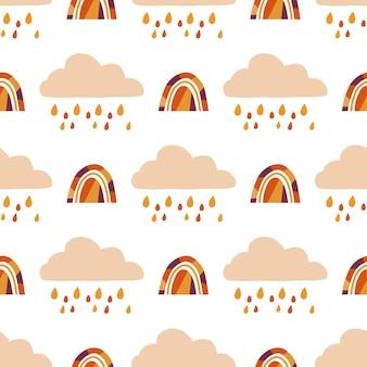 Modello semplice ripetuto senza cuciture vettoriale con nuvola di pioggia disegnata a mano e arcobaleno scandinavo