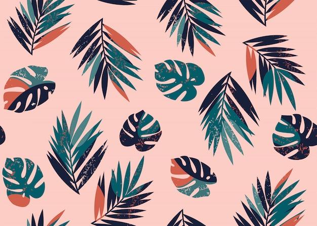 Reticolo tropicale senza giunte con monstera e foglie di palma